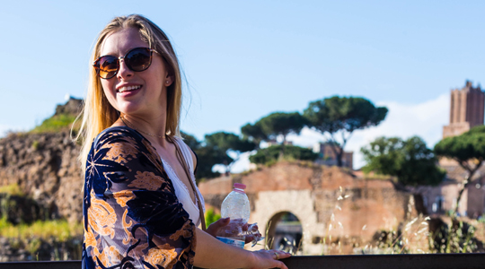 Female student in Italy during a Study Abroad+Study USA trip