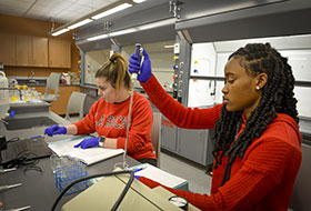 Twofemale LRU students in newly renovated labs