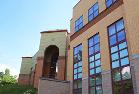 A view of the Zappala College Center Building