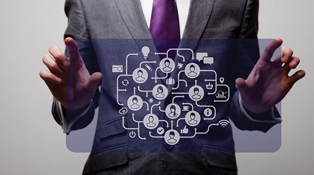 Man toching a virtual computer screen