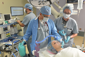 Nurse Anesthesia students with patient in Operating Room