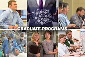 Collage of different students enrolled in our Graduate Programs