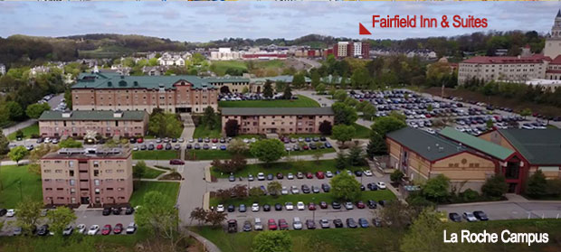 Ariel shot of campus with Fairfield Inn & Suites in view across street