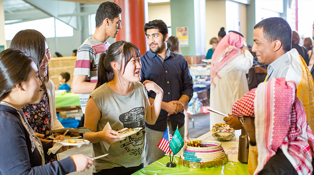 Students in food line during International week at Kerr Fitness Center