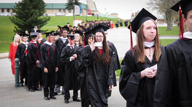 Graduates in procession during Commencement